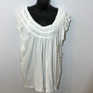 We the Free NWT Coconuts Ivory Gathered Top